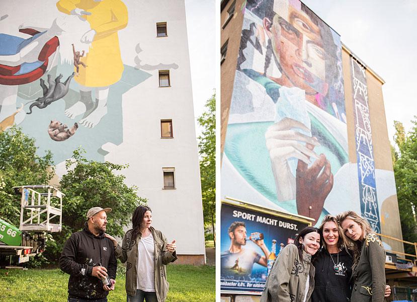 Gruppenfoto, eventfotograf berlin, urban nation, streetart, veranstaltungsfoto, fotograf berlin, mobiles fotostudio, fotos für firmenevents, bustour durch berlin, one wall project, elle street art, yasha young, mia florentine weiss